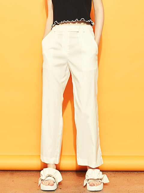 블랭크(BLANK) SLIT WIDE PANTS-WH