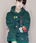 코드아이엠(CODE I'M) HOME SWEET HOME L/S OVER FIT HOODY GREEN
