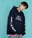 코드아이엠(CODE I'M) ON THE RADIO L/S OVER FIT HOODY NAVY