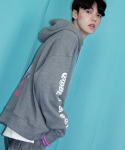 LIMITED ON THE RADIO L/S OVER FIT MESH HOODY GREY