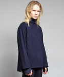 옴펨(HOMFEM) Wool zip pullover shirts_Navy
