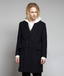 옴펨(HOMFEM) Slim double breast coat_Navy