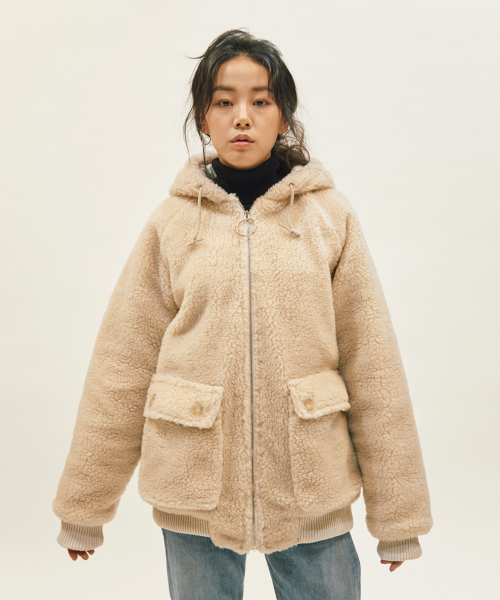 에스토(ESTO) ESTO FLEECE HOOD JUMPER IVORY