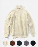 FISHERMAN RIB ROLL NECK SWEATER (5color)