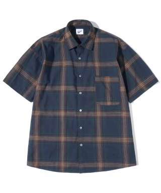 파르티멘토(partimento) Plaid Check 1/2 Shirts Navy