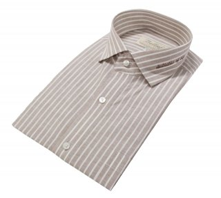 벨리프(bellief) Linen stripe shirt (Mocha)_BLS17230