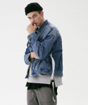 매스노운(MASSNOUN) TAPE O-RING DAMAGE OVERSIZED DENIM JACKET MFVJK002-BL