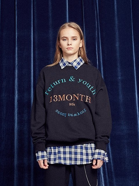 써틴먼스(13MONTH) RETURN AND YOUTH SWEATSHIRT (BLACK)