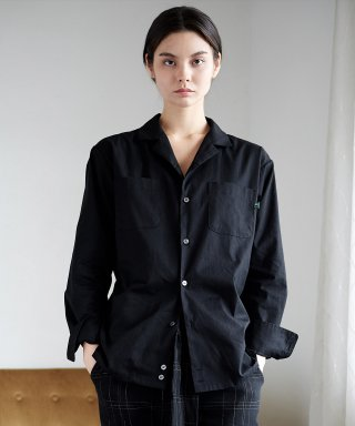 프레리(prairie) [UNISEX] OXFORD TAILORED-COLLAR SHIRT (Black)