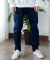 프레리(prairie) [UNISEX] BROKEN STRETCH TWO-TUCK PANTS (Navy)
