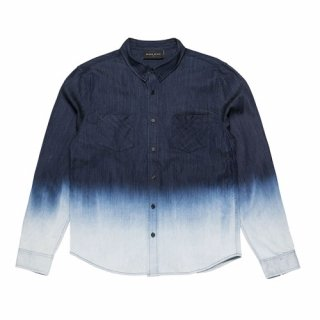 블랙스케일(blackscale) BLACKSCALE DIP DYE DENIM BUTTON DOWN BLUE