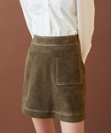 밀로그램(MILLOGREM) embroidered suede skirt - khaki