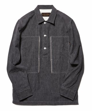 디아프바인(diafvine) DV. LOT503 SELVEDGE INDIGO COVERT PULLOVER SHIRTS -BLACK-