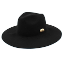 유니버셜 케미스트리(UNIVERSAL CHEMISTRY) Gold Metal Long Wool Fedora BK 메탈롱페도라