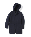 17fw wool hooded fisherman coat navy