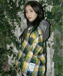 코드아이엠(CODE I'M) OVER FIT HEAVY GINGHAM CHECK HOOD SHIRT YELLOW