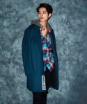 OVER FIT HEAVY SOLID T/R LONG COAT AQUA