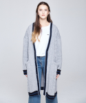 인디고칠드런(INDIGO CHILDREN) OVERSIZED CABLE LONG CARDIGAN [GREY]