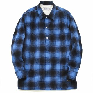 디아프바인(diafvine) DV. LOT504 PLAID WOOL PULLOVER SHIRTS -ROYAL BLUE-