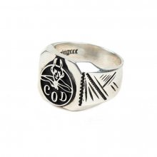 303# 92.5 SILVER DEVIL RING BLACK