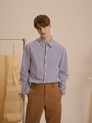 드퐁(defond) LINEN STRIPE SHIRTS_BLUE