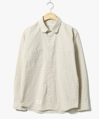 헨더(hander) Plaid Gingham Check Shirts Beige