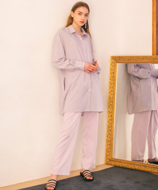 논로컬(nonlocal) Stirpe Shirts Dress -Lavender