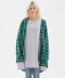 OVERSIZED PLAID CHECK TAIL SHIRT  [GREEN]