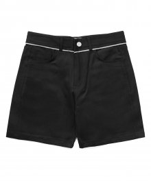 [EASY BUSY] Selvage Detail Shorts - Black