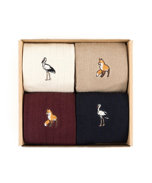 와일드 브릭스(WILD BRICKS) FOX/CRANE SOCKS 4SET (ivory/beige/burgundy/navy)