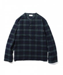 Naple Henley Neck Shirt Green Check