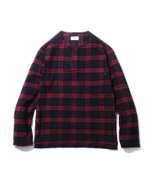 Naple Henley Neck Shirt Wine Check