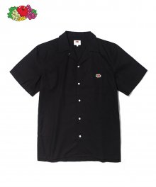 S/S OPEN COLLAR SHIRTS BLACK