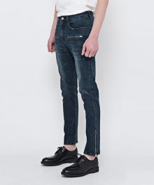 DARK BLUE ZIPPER JEANS