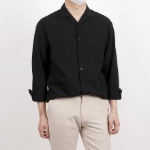 (마지막1장) Hyoji open collar basic linen shirts