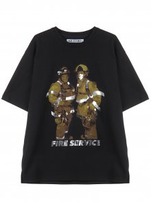 FOIL MIXED FIREMAN TEE - BLACK