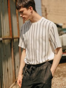 STRIPE PANEL TEE - WHITE