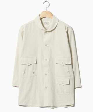 헨더(hander) Shawl Collar Tone Check Shirts Ivory