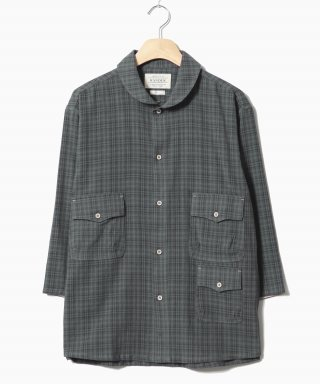 헨더(hander) Shawl Collar Tone Check Shirts Grey