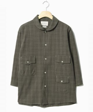 헨더(hander) Shawl Collar Tone Check Shirts Brown