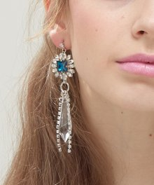 Floral cubic earrings ( Silver. Blue. Pink )