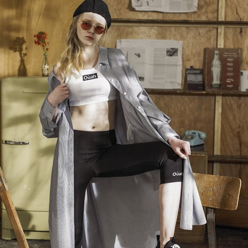 우아솜메(OUAHSOMMET) Slim-fit Short Yoga Pants[BLACK KHAKI