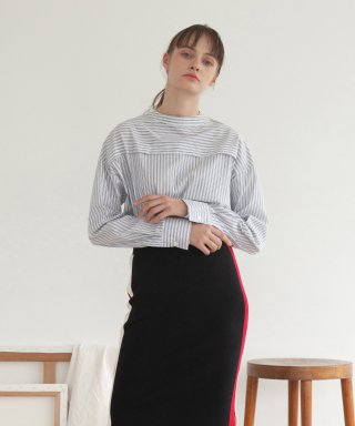 타게토(targetto) HIGHNECK BLOUSE_GREY STRIPE