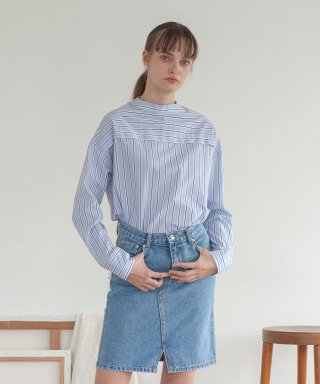 타게토(targetto) HIGHNECK BLOUSE_SKY STRIPE