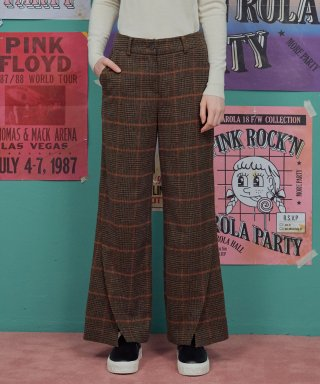 로라로라(rolarola) (PT-18523) CHECK LETTERING OVER PANTS BROWN