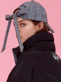 아이아이(EYEYE) BLACK CHECK COMBINATION RIBBON CAP_BLACK (EEOG3AHY01W)