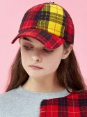 아이아이(EYEYE) MULTI CHECK COMBINATION RIBBON CAP_RED (EEOG3AHY02W)