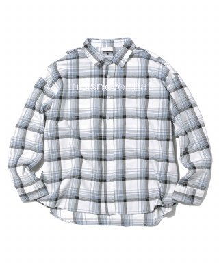 디스이즈네버댓(thisisneverthat) L-Logo Oversized Check Shirt Grey
