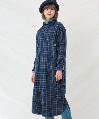 프룻오브더룸(fruitoftheloom) ONE PIECE CHECK SHIRTS (WOMEN) NAVY