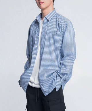 브랜디드(branded) HIDDEN OVERFIT SHIRTS [BLUE]